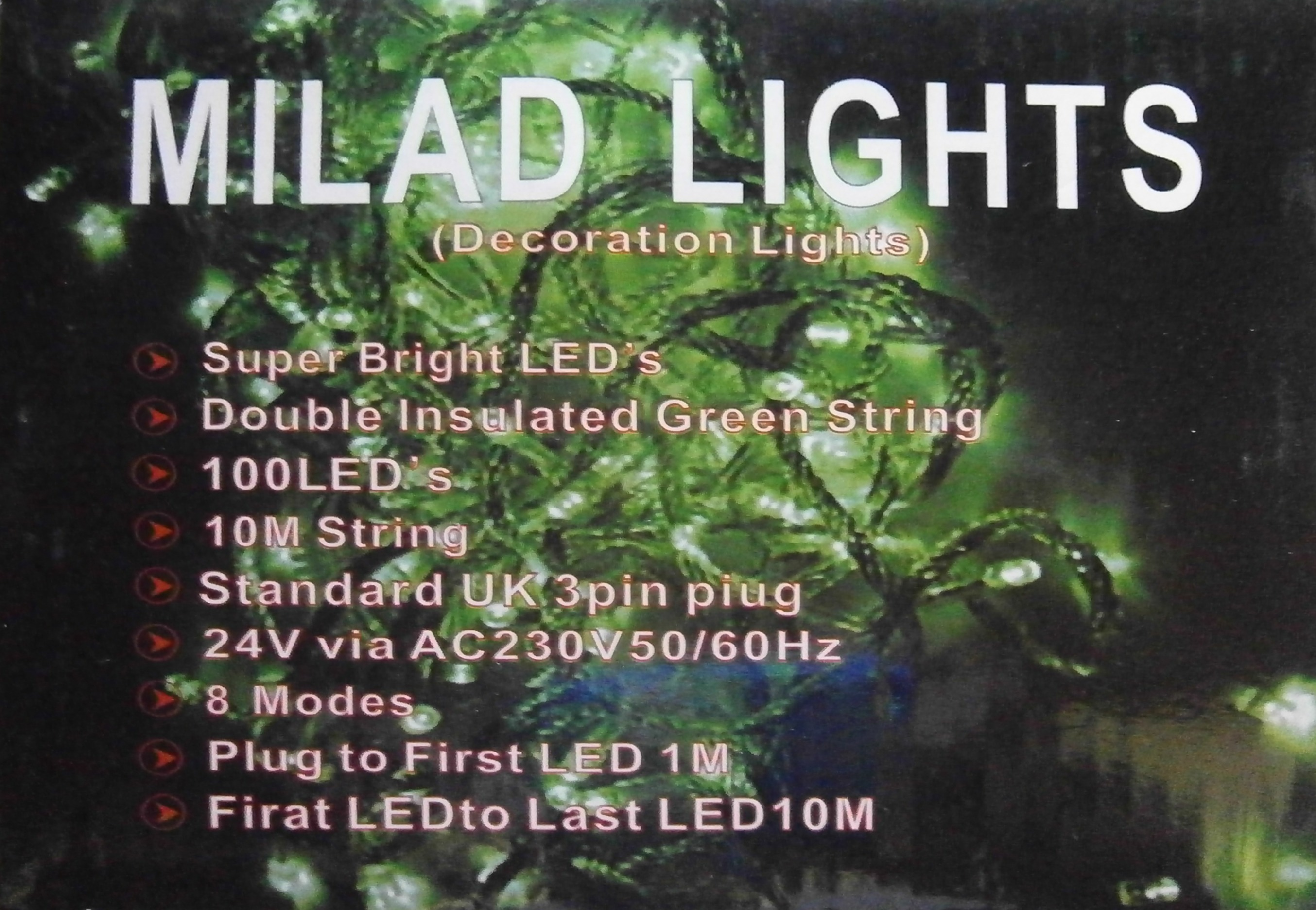 A (100) Green Led Milad Lights